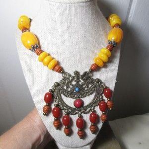 Jewelry - Tibetan Brass, wood  & acrylic necklace 1799